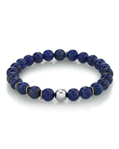 Men's Lapis & Wavy Disc Bracelet, Size M