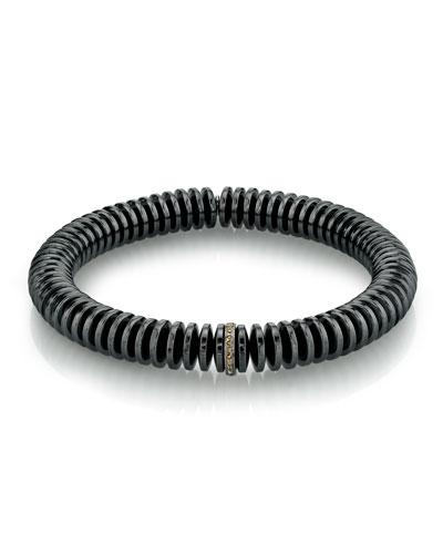 Men's Hematite Disc & Diamond Bracelet, Size M