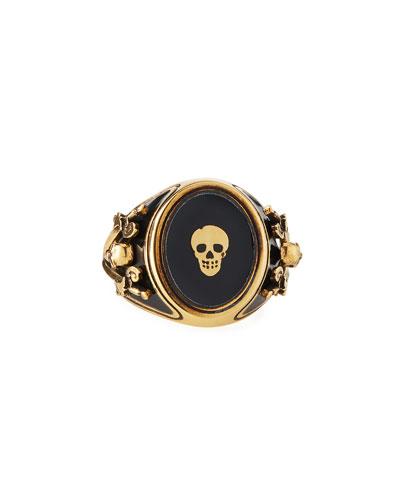Men's Enamel Skull Signet Ring