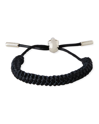 Men's Skull-Bead Braided Leather Bracelet