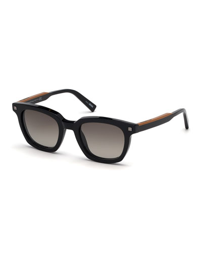 Ermenegildo Zegna Men's Shiny Vicuna Square Sunglasses