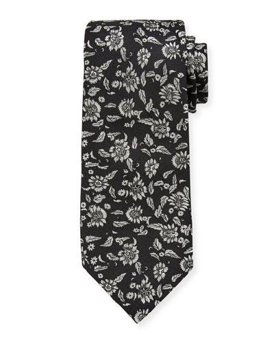 Men's Metallic Floral Silk Tie
