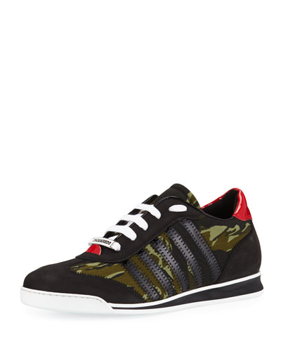 Men's Camo Canvas & Leather Sneakers