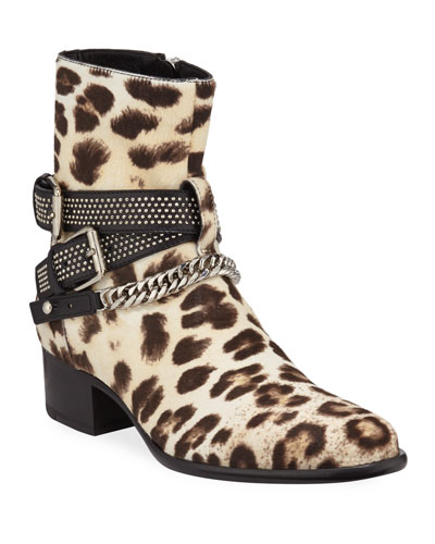Men's Leopard-Print Calf Hair Chain Moto Boots
