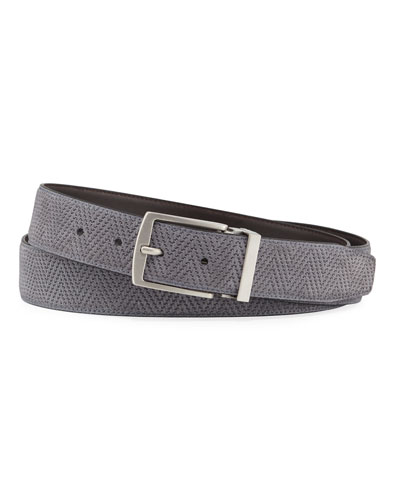 Men's Reversible Chevron Suede/Leather Belt