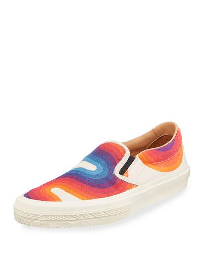 Men's Wave Print Slip-On Sneaker