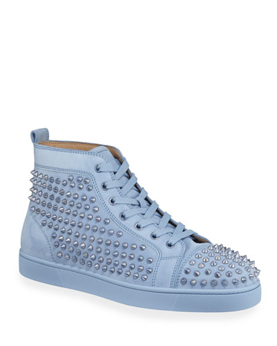Men's Louis Spike-Studded Suede Sneakers