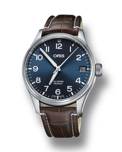 Oris Men's 41mm Propilot Watch w/ Leather Strap,