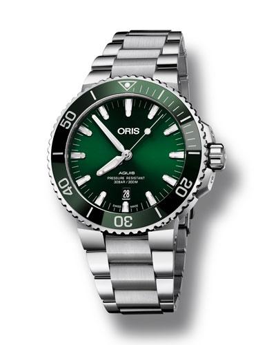Men's 43.5mm Aquis Automatic Bracelet Watch, Green/Steel