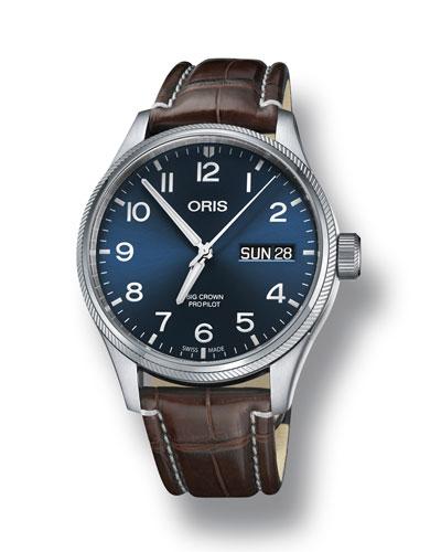 Men's 45mm Big Crown Propilot Day-Date Watch, Blue/Brown