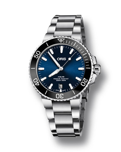 Oris Men's 39.5mm Aquis Automatic Bracelet Watch, Blue/Steel