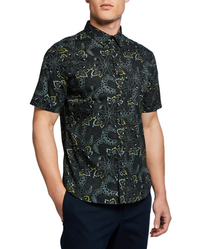 Men's Short-Sleeve Floral Graphic Sport Shirt