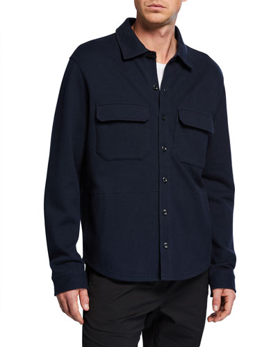 Men's Solid Stretch-Poplin Shirt Jacket