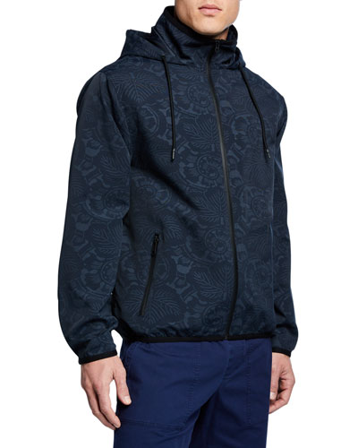 Men's Tonal Floral-Print Zip-Front Jacket