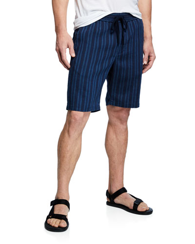 Men's Striped Hemp Pull-On Shorts