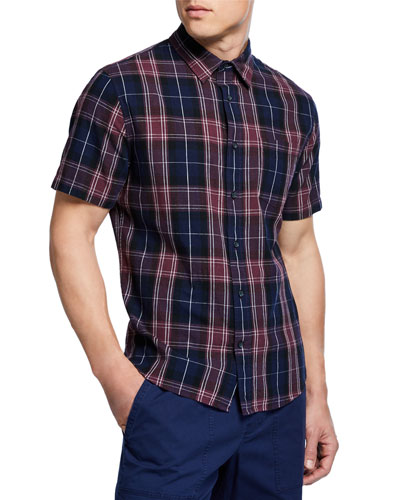 Men's Plaid Linen Short-Sleeve Sport Shirt