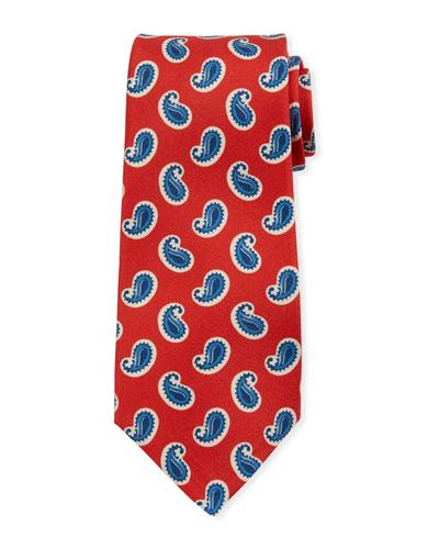 Kiton Large-Pine Silk Tie, Red