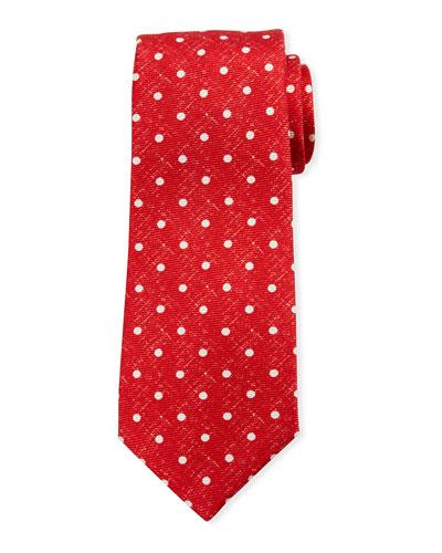 Linen-Look Dot Silk Tie, Red