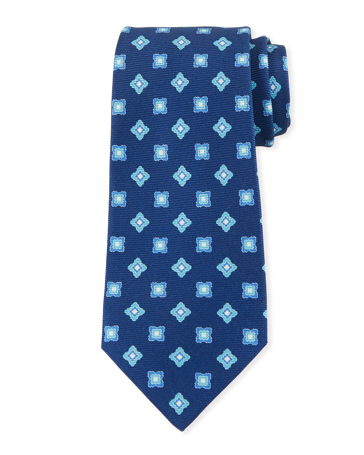 Kiton Ties BOXES & DIAMONDS SILK TIE, BLUE