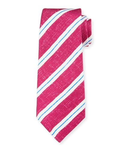 Kiton Men's Linen-Look Stripe Silk Tie, Berry