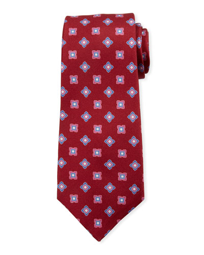Kiton Boxes & Diamonds Silk Tie, Red