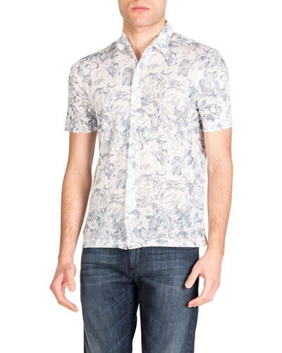 Men's Floral-Print Knit Linen Short-Sleeve Shirt