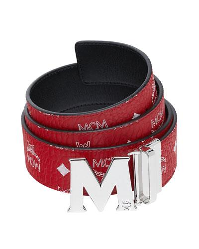 Men's Visetos Reversible M-Buckle Monogram Belt