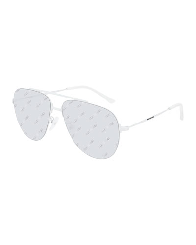 Balenciaga Men's Unisex Metal Aviator Sunglasses