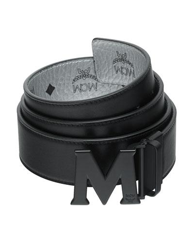 Men's Crown Visetos Reversible M-Buckle Monogram Belt