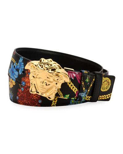 Men's Floral-Print Medusa-Buckle Belt