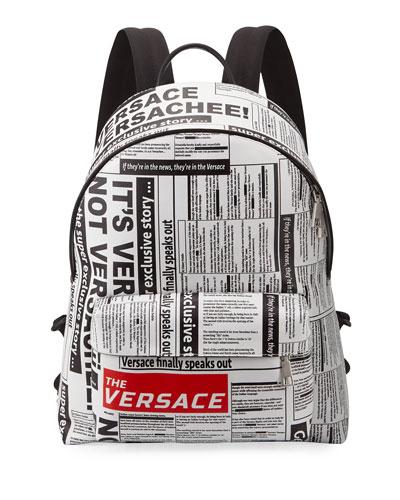 Men's Tabloid-Print Backpack