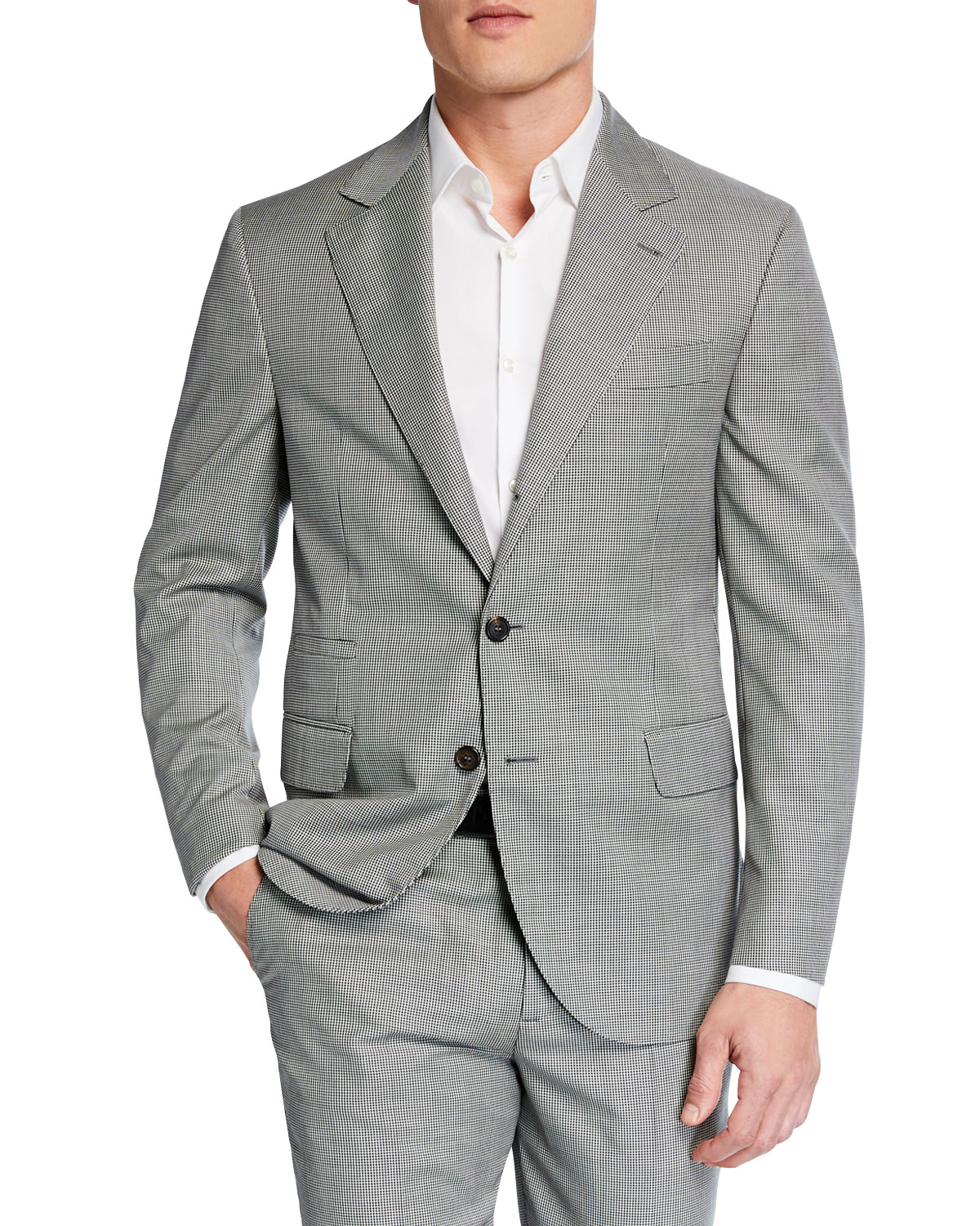 Brunello Cucinelli Suits MEN'S MICRO-HOUNDSTOOTH TWO-PIECE WOOL SUIT