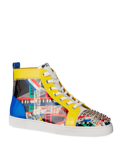 Men's Lou Spikes LoubiBallage High-Top Sneakers with Spikes