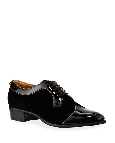 Men's Thune Velvet Lace-Up Shoes w/ Patent Leather Trim
