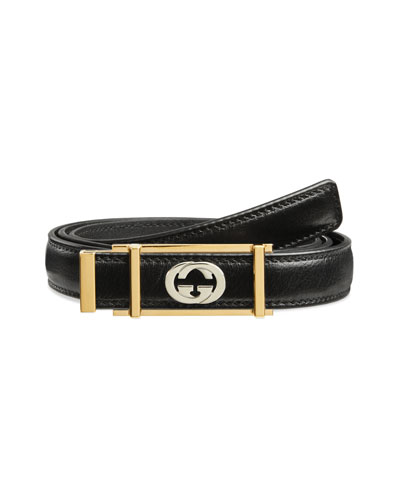 Men's Skinny Leather Belt w/ Framed Buckle