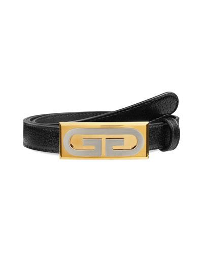 Men's Skinny Leather Belt w/ Solid Buckle