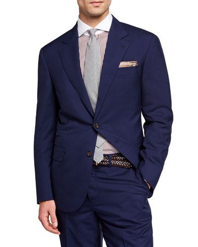 Men's 150GR Travel Solid Wool-Silk Two-Piece Suit