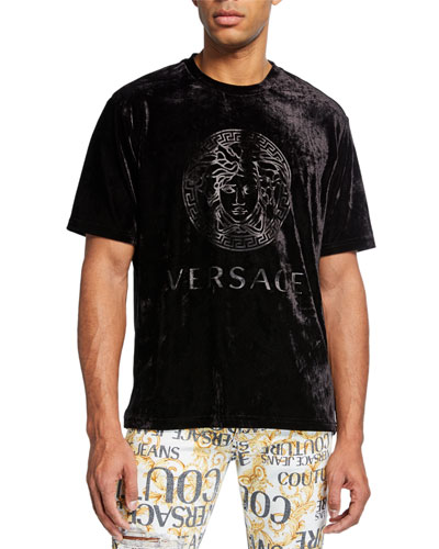 Men's Logo-Embossed Velvet T-Shirt