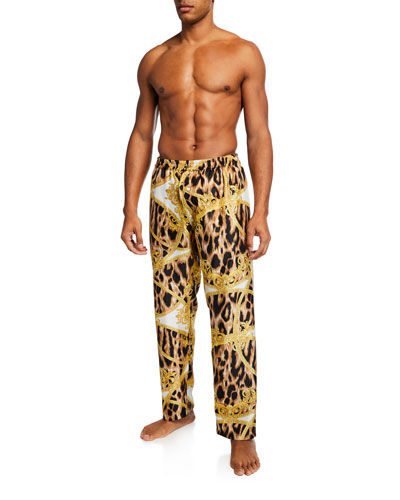 Men's Baroque Print Silk Pajama Pants