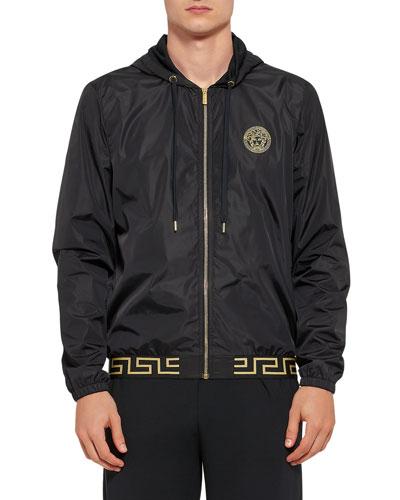 Men's Greek Key Zip-Front Jacket