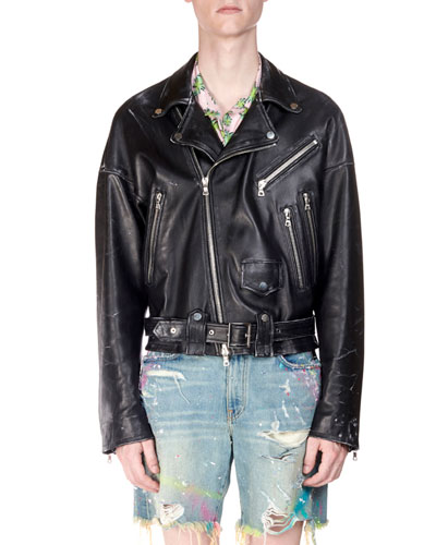 Men's Leather Oversized Biker Jacket