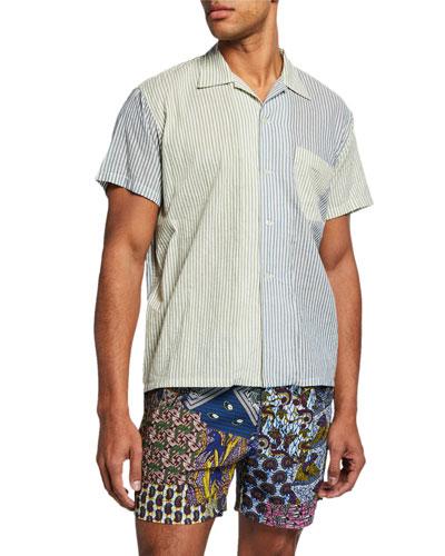 Men's Two-Tone Striped Short-Sleeve Sport Shirt