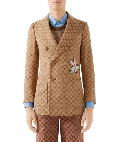 Men's Interlocking-G Double-Breasted Jacket