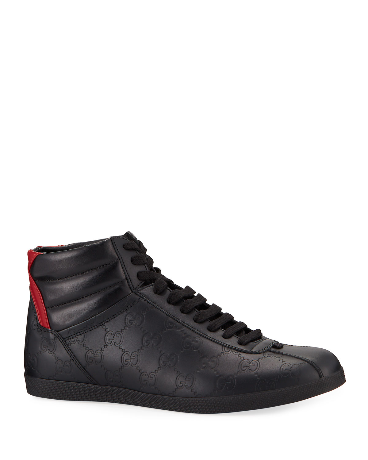 Gucci Men's Bambi Gg-Embossed Leather High-Top Sneakers In Black