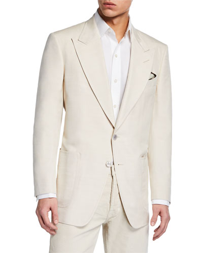 Men's Shelton Patch-Pocket Silk Jacket