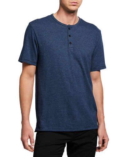 Men's Short-Sleeve Feeder Stripe Henley Shirt