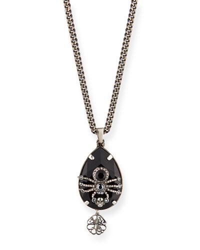 Men's Crystal Spider Pendant Necklace