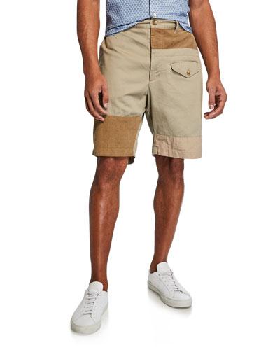 Men's Ghurka Twill Patchwork Shorts