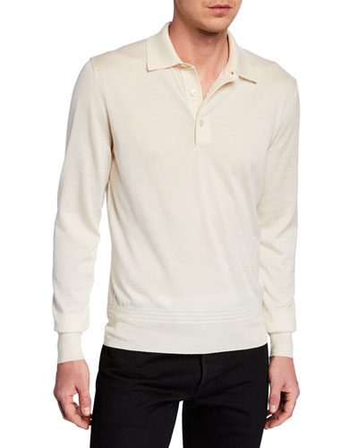 ab601e4fc02 Men s Long-Sleeve Cashmere-Silk Polo Shirt