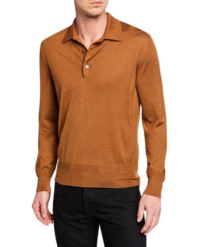 7451601b3e72 Made in Italy. Men's Long-Sleeve Cashmere-Silk Polo Shirt
